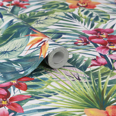 Aloha Tropical Wallpaper in Green from the Strata Collection by Graham & Brown