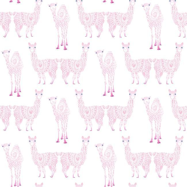 Alpaca Pack Wallpaper in Pink from the A Perfect World Collection by York Wallcoverings