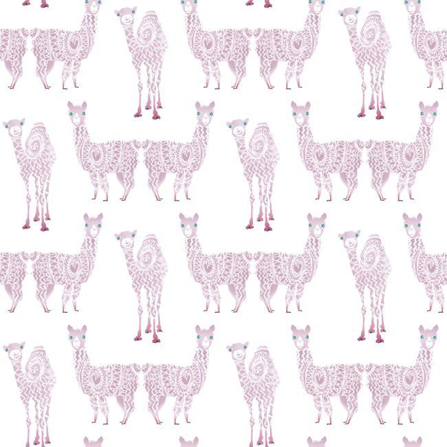 Alpaca Pack Wallpaper in Purple from the A Perfect World Collection by York Wallcoverings