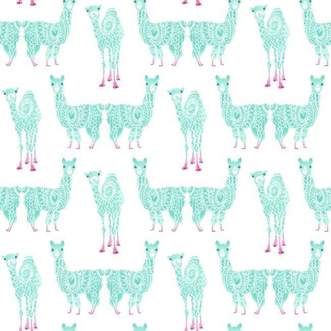 Alpaca Pack Wallpaper in Teal from the A Perfect World Collection by York Wallcoverings