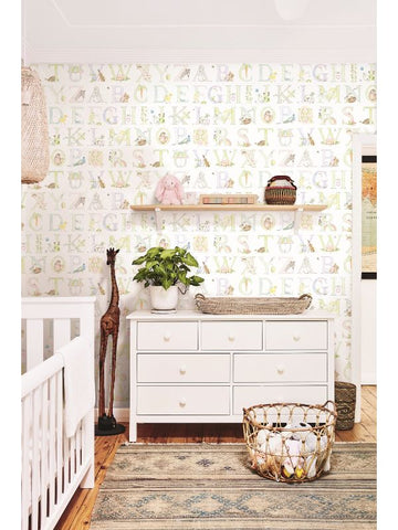 Alphabet Wallpaper from the Day Dreamers Collection by Seabrook Wallcoverings