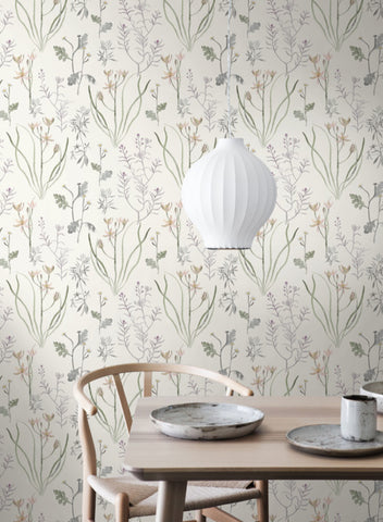 Alpine Botanical Wallpaper in Ivory and Purple from the Norlander Collection by York Wallcoverings