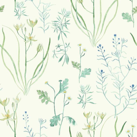Alpine Botanical Wallpaper in Ivory and Blue from the Norlander Collection by York Wallcoverings