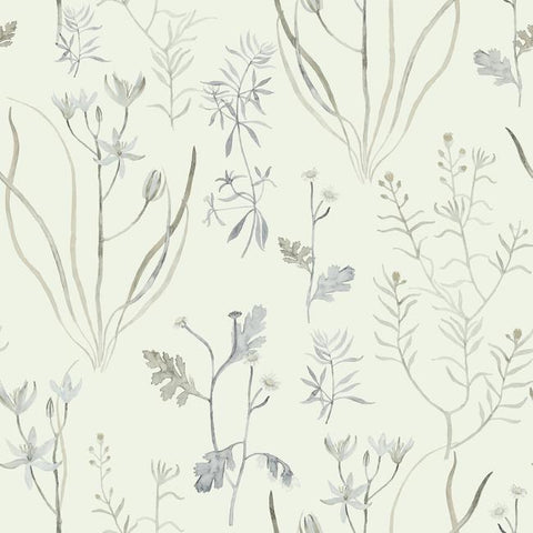 Alpine Botanical Wallpaper in Ivory and Grey from the Norlander Collection by York Wallcoverings