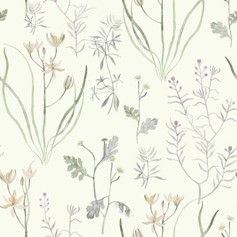 Sample Alpine Botanical Wallpaper in Ivory and Purple from the Norlander Collection by York Wallcoverings