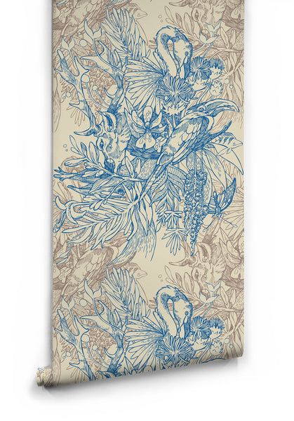 Amazonia Boutique Wallpaper In Blue By Milton Amp King