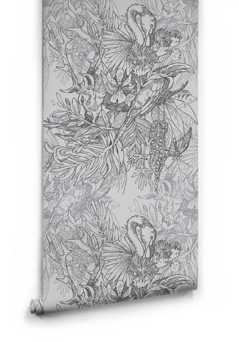 Amazonia Boutique Wallpaper in Grey by Milton & Kin
