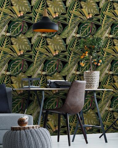 Amazonia Wallpaper in Black and Green from the Rediscovered Paradise Collection by Mind the Gap