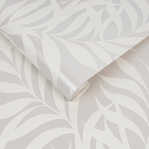 Amazonian Leaf Wallpaper in Pearl from the Capsule Collection by Graham & Brown