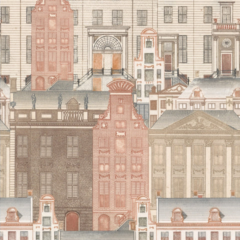 Amsterdam Wallpaper in Brown, Red, and Taupe from the Histoire de L'Architecture Collection by Mind the Gap