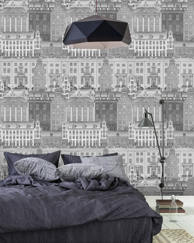 Amsterdam Wallpaper in Neutral from the Histoire de L'Architecture Collection by Mind the Gap