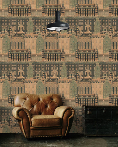Amsterdam Wallpaper in Orange from the Histoire de L'Architecture Collection by Mind the Gap