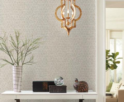 Amulet Wallpaper in Bone and Tan from the Moderne Collection by Stacy Garcia for York Wallcoverings