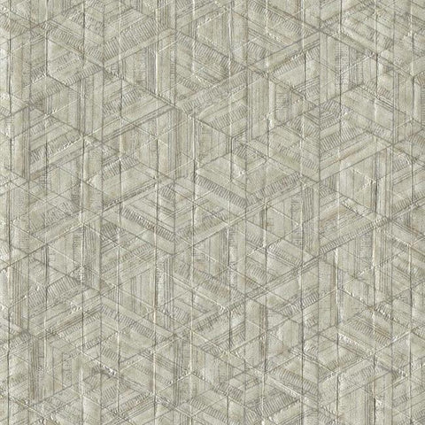 Sample Amulet Wallpaper in Bone and Tan from the Moderne Collection by Stacy Garcia for York Wallcoverings