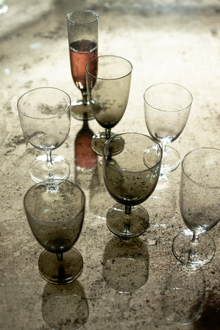 Set of 4 Amwell Smoke Glassware in Various Sizes design by Canvas