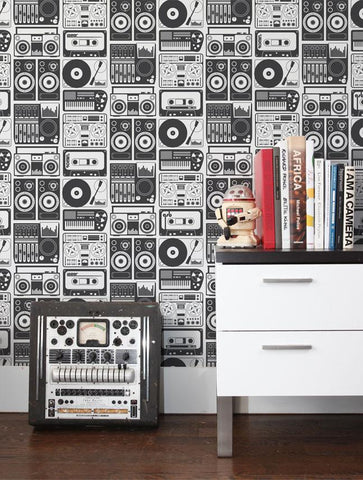 Analog Nights Wallpaper in Charcoal design by Aimee Wilder