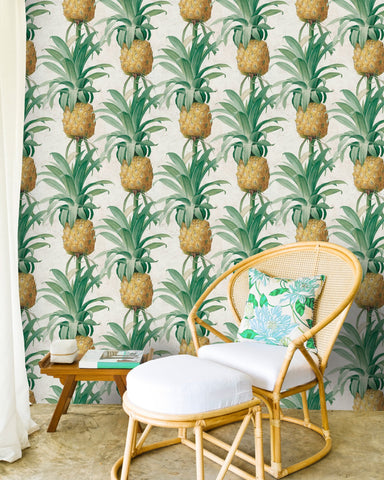 Ananas Wallpaper in Green and Yellow from the Tropical Vibes Collection by Mind the Gap