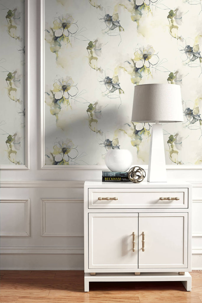 Anemone Watercolor Floral Wallpaper in Dark Ash and Canary from the Living With Art Collection by Seabrook Wallcoverings