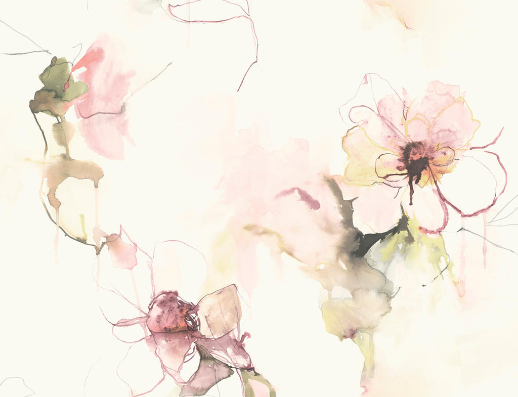 Sample Anemone Watercolor Floral Wallpaper in Pink Lemonade and Wine from the Living With Art Collection by Seabrook Wallcoverings