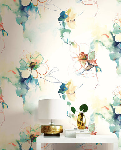 Anemone Watercolor Floral Wallpaper in Turquoise and Persimmon from the Living With Art Collection by Seabrook Wallcoverings