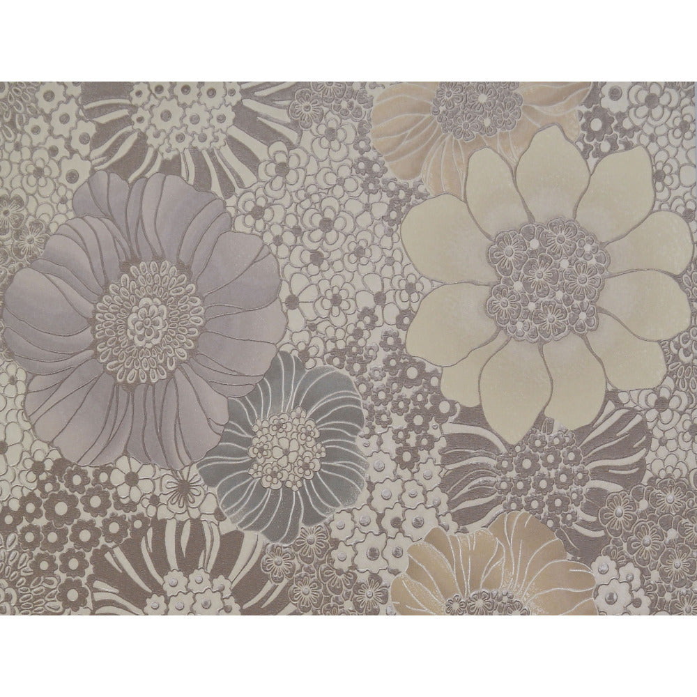 Sample anemones wallpaper in cream and warm grey by for Grey and cream wallpaper