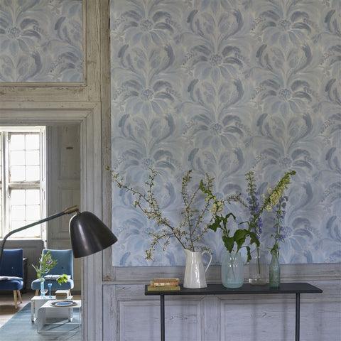 Angelique Damask Wallpaper in Indigo from the Tulipa Stellata Collection by Designers Guild