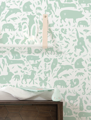 Animal Alphabet Kids Wallpaper in Green by KEK Amsterdam