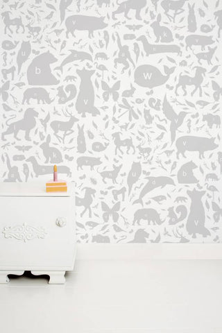Animal Alphabet Kids Wallpaper in Grey by KEK Amsterdam