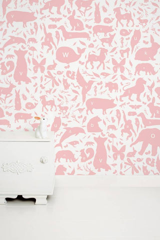Animal Alphabet Kids Wallpaper in Pink by KEK Amsterdam