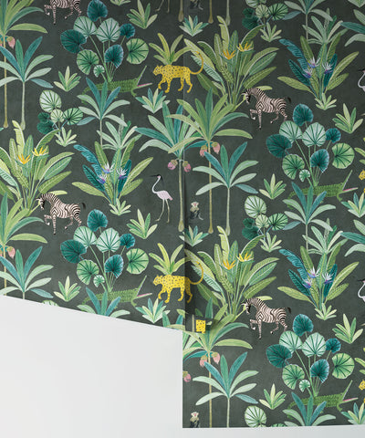 Animal Kingdom Wallpaper (Two Roll Set) in Charcoal by Bethany Linz for Milton & King