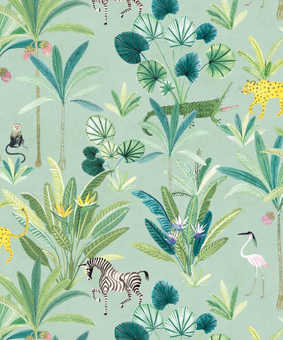 Animal Kingdom Wallpaper (Two Roll Set) in Sea Spray by Bethany Linz for Milton & King