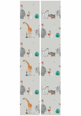 Animal Mix Wallpaper in Grey by KEK Amsterdam