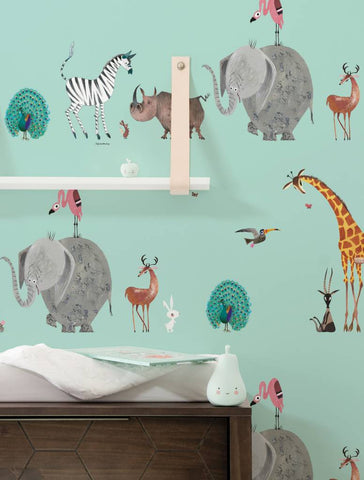 Animal Mix Wallpaper in Mint by KEK Amsterdam