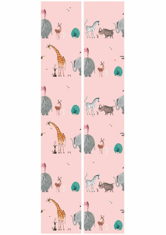 Animal Mix Wallpaper in Pink by KEK Amsterdam