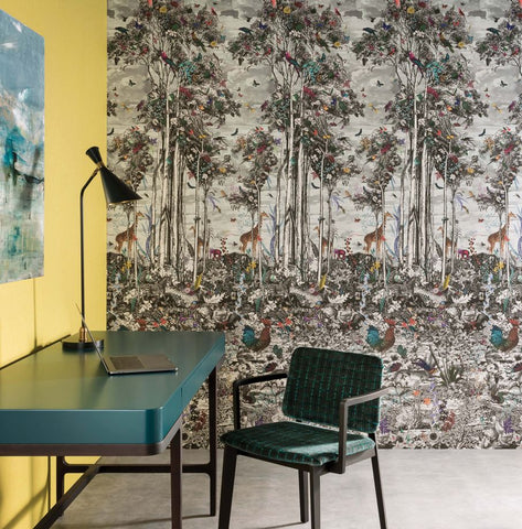 Animal Glade Wall Mural in Multi from the Folium Collection by Osborne & Little