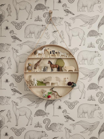 Animals Wallpaper in Off-White by Katie Scott for Ferm Living