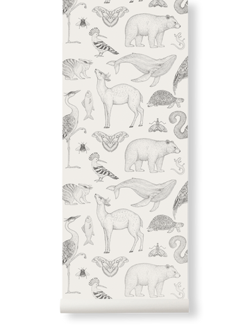 Sample Animals Wallpaper in Off-White by Katie Scott for Ferm Living