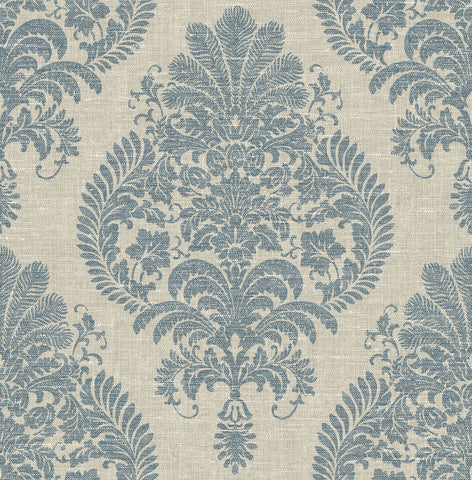 Antigua Damask Wallpaper in Air Force Blue and Alabaster from the Luxe Retreat Collection by Seabrook Wallcoverings