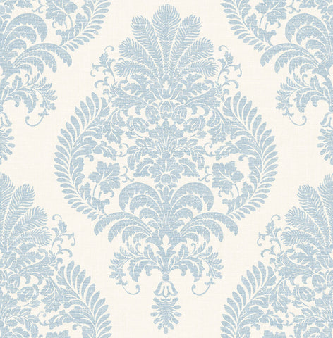 Antigua Damask Wallpaper in Blue Frost and Bone White from the Luxe Retreat Collection by Seabrook Wallcoverings