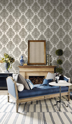 Antigua Damask Wallpaper in Charcoal and Ivory from the Luxe Retreat Collection by Seabrook Wallcoverings