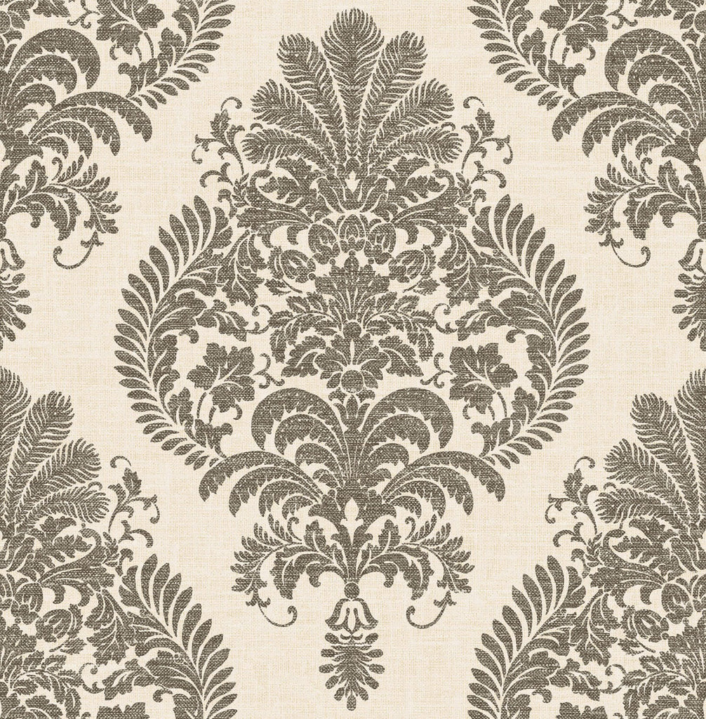 Sample Antigua Damask Wallpaper in Charcoal and Ivory from the Luxe Retreat Collection by Seabrook Wallcoverings
