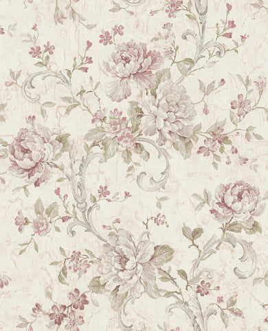 Antiqued Rose Wallpaper in Dusty Mauve from the Vintage Home 2 Collection by Wallquest