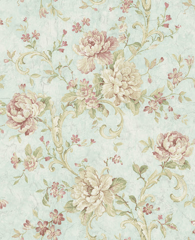 Antiqued Rose Wallpaper in Morning Rose from the Vintage Home 2 Collection by Wallquest