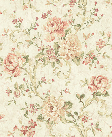 Antiqued Rose Wallpaper in Peachy from the Vintage Home 2 Collection by Wallquest