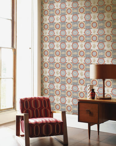 Apodyterium Wallpaper in Grey and Red from the World of Antiquity Collection by Mind the Gap