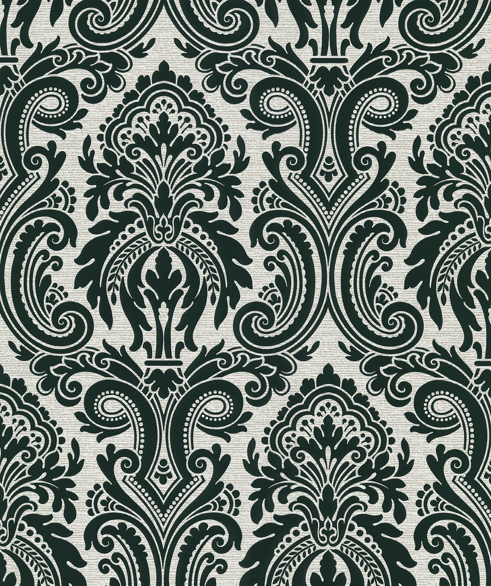 Apollo Modern Damask Wallpaper In Black By Brewster Home