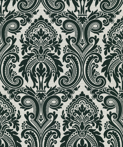 Apollo Modern Damask Wallpaper In Black By Brewster Home Fashions