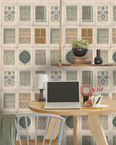 Arabesque Wallpaper in Green and Taupe from the Eclectic Collection by Mind the Gap