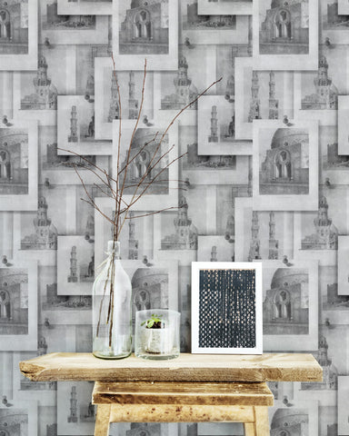 Arabian Monuments Wallpaper in Neutral from the Eclectic Collection by Mind the Gap