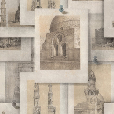 Arabian Monuments Wallpaper in Sepia and Taupe from the Eclectic Collection by Mind the Gap